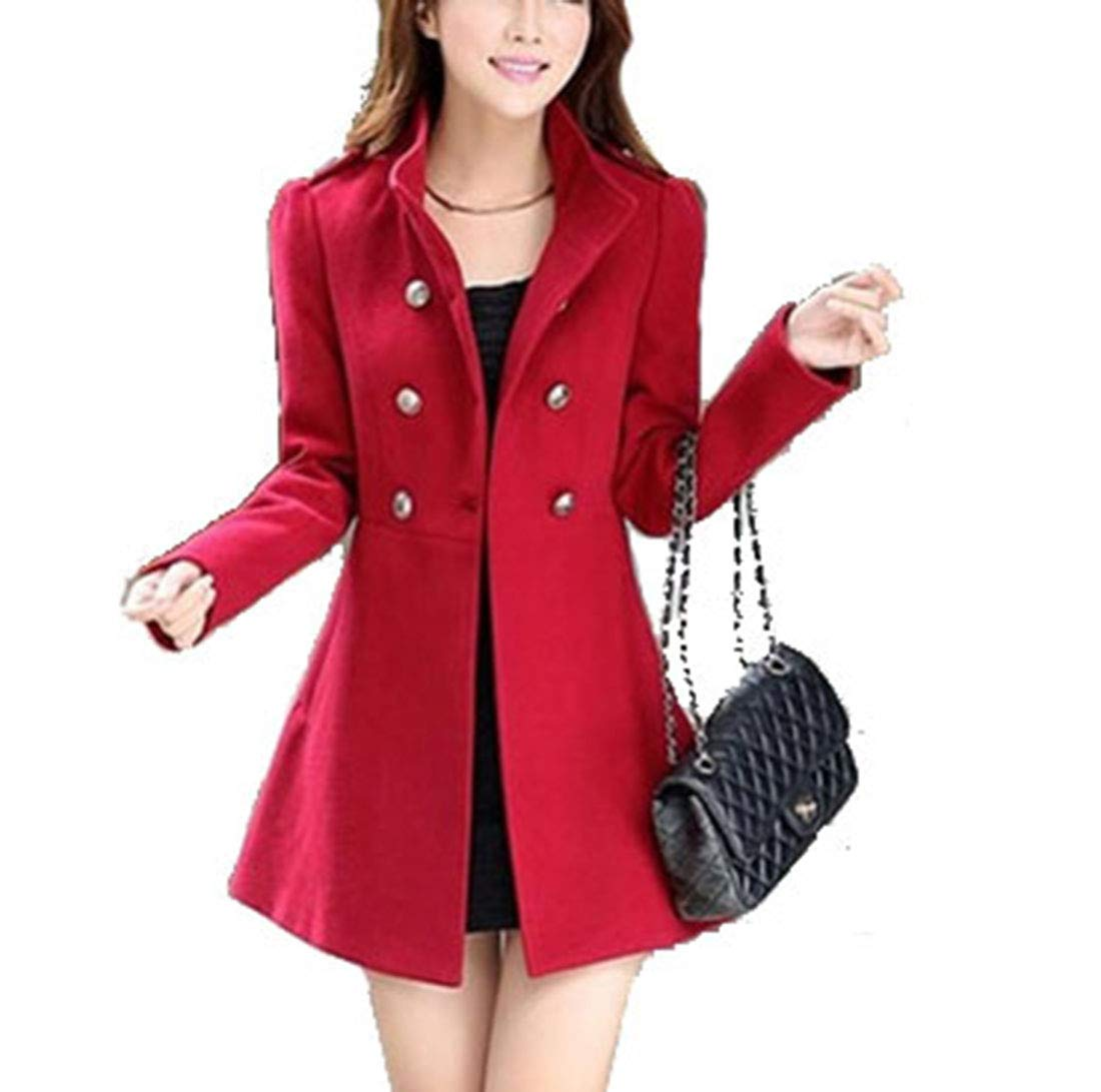 MUYAOO Women Korean Long Coat Jacket Windbreaker Winter Slim Outwear