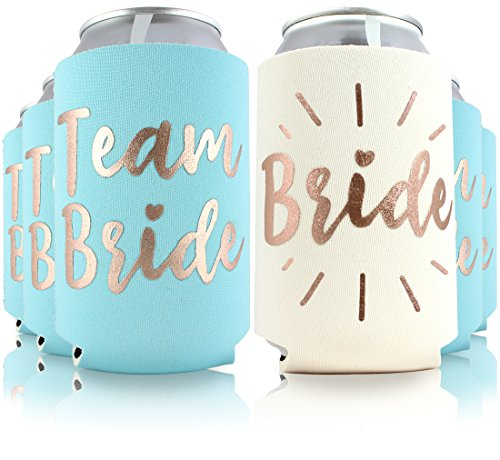 6pc Set Team Bride & Bride Drink Coolers for Bachelorette Parties, Bridal Showers & Weddings - 4mm Thick Bottle Cooler Sleeves/Can Coolies/Beverage Insulators (6pc Set, Lt Blue)]()