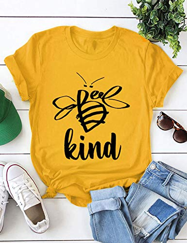 OUNAR Women T Shirt Funny Tees Tops Cute Bee Graphic Kind Letter Print Crewneck Shirts Top Stretch Cotton Blouses