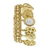 Anne Klein Women's  10-8096CHRM Swarovski Crystal Accented Gold-Tone Charm Bracelet Watch
