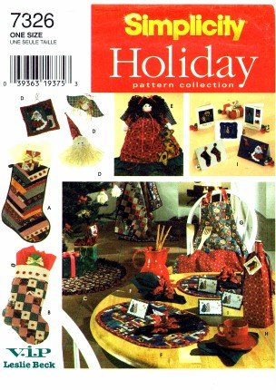 (Simplicity 7326 Sewing Pattern Christmas Stocking Treeskirt Ornaments Treetop Apron Gift Bags Tags Greeting Cards)