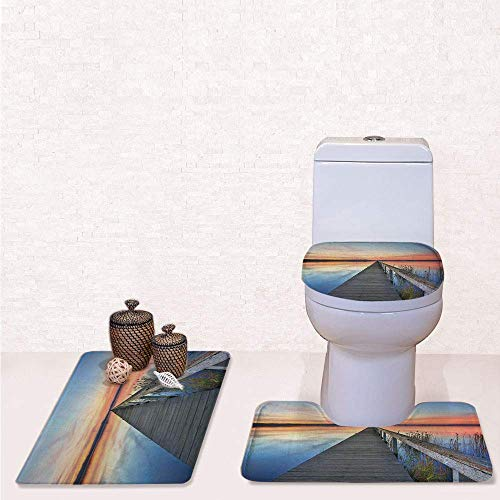 Umber Entrance - Print 3 Pcss Bathroom Rug Set Contour Mat Toilet Seat Cover,Sunset Reflections on Lake Long Wooden Jetty Waterscape Idyllic Horizon with Peach Blue Umber,Decorate Bathroom,Entrance Door,Kitchen,Bed