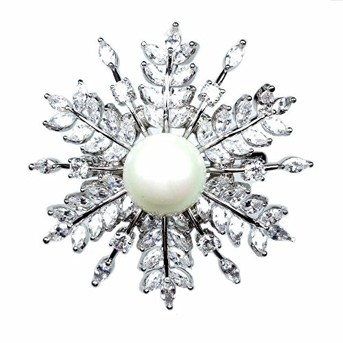 Marquise Vintage Brooch - Dreamlandsales Vintage Domed Mother of Pearl Marquise Cut Snow Flower Brooches Silver Tone
