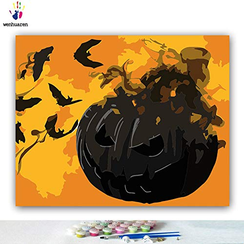 Paint by Number Kits Canvas DIY Oil Painting for Kids, Students, Adults Beginner with Brushes and Acrylic Pigment -Halloween Decoration Painted Pumpkin Lights Black bat (21061, 28x36 no Frame) -