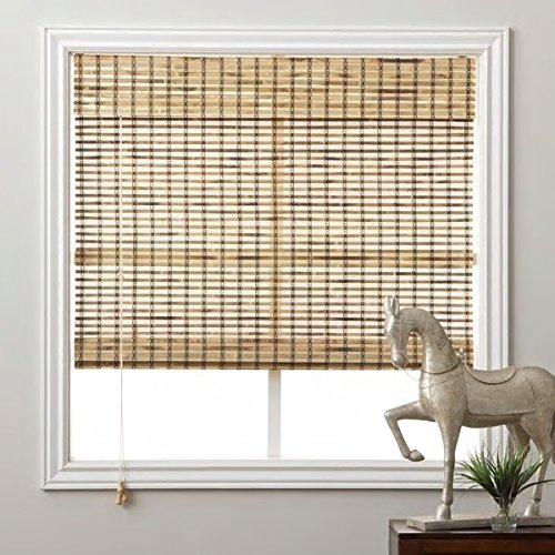 1 Piece 70''Wx74''L Multi Grain Brown Ochre Tan Natural Wood Pull Up Bamboo Blind. Eco Friendly Rustic Roman Country Horizontal Slat With Built In Valance Nature Window Treatment Allows Gentle Sunlight by PH