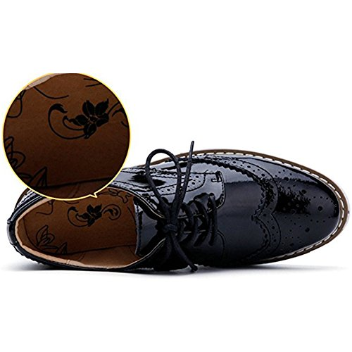 Zhihong Kvinners Uformelle Oxfords Sko Plattform Høyhælte Sandaler Firkantet Tå Okse Loafers Svart