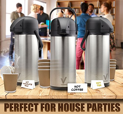 Coffee Carafe Beverage Dispenser Insulated Stainless Steel Hot Water