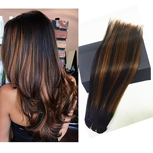 TheFashionWay Clip in Hair Extensions Human Hair 22 inch Medium Brown with Honey Blonde highlights Dip Dyed Ombre Balayage 120g Full Head Straight Soft Extension Clips on
