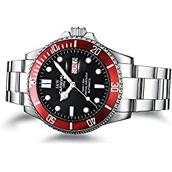 PASOY Men Automatic Mechanical Luminous Dial Black Rotatable Bezel Sapphire Glass Steel Week Day Watches