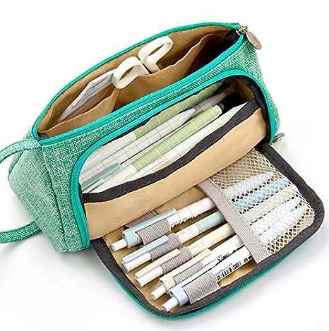 1pcs Multifuncional Estuche de lápices de Gran Capacidad Bolsa de Lona Premium Bolsa de lápiz Organizador de papelería para Chicas Chicos Ni?os