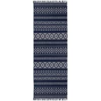 Blue Geo Cotton (2.5x8) Rug Runner