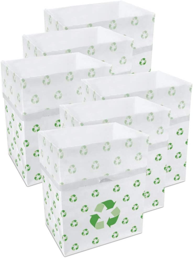 Clean Cubes 13 Gallon Disposable Sanitary Trash Cans & Recycling Bins, 6 Pack (Recycle)