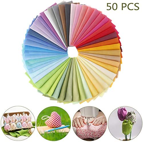 50 Pieces Cotton Fabric Muliti-Colors Fabric Bundles Sewing Solid Color Square Fabric Scraps Sewing Fabric Squares for DIY Craft Party Supplies (15cmx15cm)