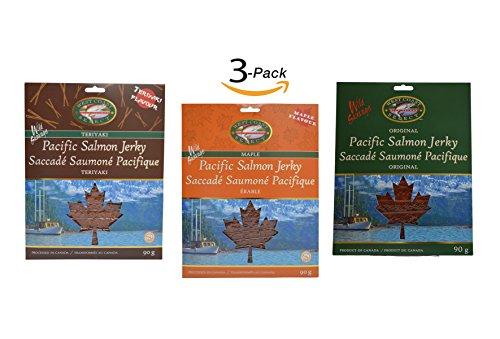 Wild Caught Canadian Smoked Salmon Jerky Variety 3 Pack Seafood Fish Jerky