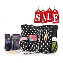 ROSEMARY Zip Top Utility Tote Bag – Knitting Yarn Organizer and/or Diaper Bag