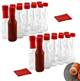 3-Ounce Hot Sauce Woozy Bottles (24-Pack); Clear Glass Bottles w/Red Lids, Drippers, Red Shrink Bands