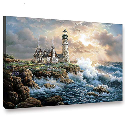 LIUDAO Oil Painting on Canvas - Light House Paint by Number Kit Include Brushes and Acrylic Pigment (16x20 Inches, with Wooden Frame)
