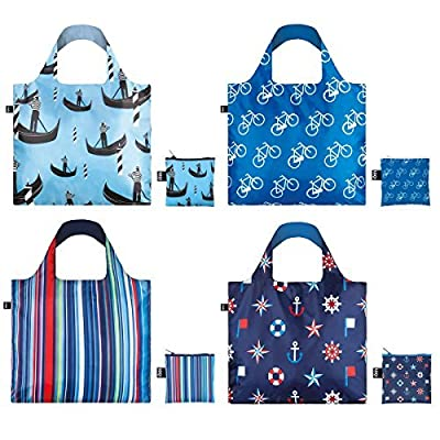 LOQI CO.BL Nautical Travel Reusable Grocery Bag, Blue