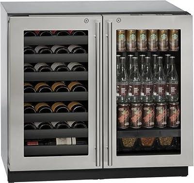 "U-Line U3036BVWCS13B 36"" Built-in Beverage Center and Wine Storage, Stainless Steel"