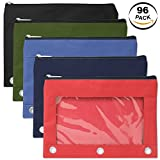 3 Ring Pencil Cases with Clear Window - Bulk Wholesale Pack of 96 Pieces (5 Color Assortment)