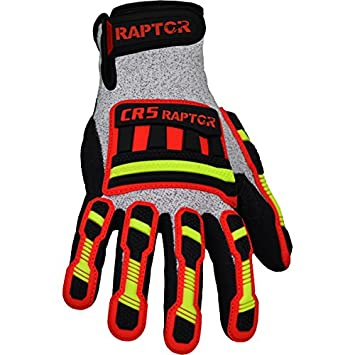 Medium Raptor CR5 M Azusa Safety CR5 RAPTOR Heavy Cuty Cut Resistant Work Glove Pack of 12 Pairs Sandy Textured Nitrile Finish with Impact Protection