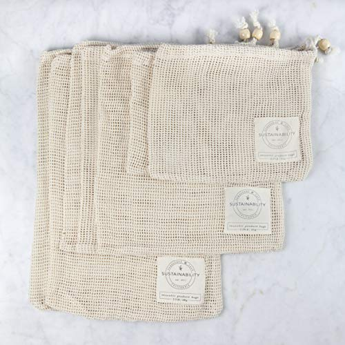 - Sandstone & Sage Reusable Produce Bags - Organic Cotton Mesh Zero Waste Biodegradable Grocery Bag Superior Quality Double Stitched with Drawstrings Set of 7 Small - Medium - Large with Tare Weights