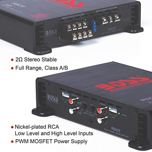 BOSS Audio Elite R1004 4 Channel Car Amplifier – 400 Watts, Full Range, Class A/B, 2-4 Ohm Stable, Great For Car Speakers and Car Stereo by BOSS Audio Systems (Image #3)