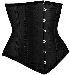 6be50e8daa Black Satin Goth Burlesque Waist Training Bustier LONG Underbust Corset  Costume