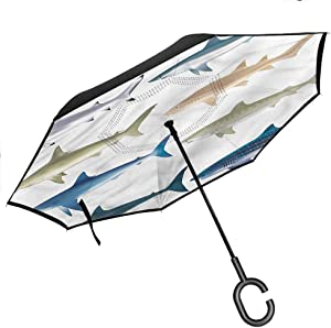 "Kgblfd Shark Reverse Inverted Inside Out Umbrella, Tropic Underwater World Double Layer Canopy, 42.5""x31.5""Inch"