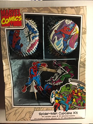 Spiderman Cupcake Kit 24 Spider-man Cupcake Cases & 24 Assorted Toppers Marvel Comics