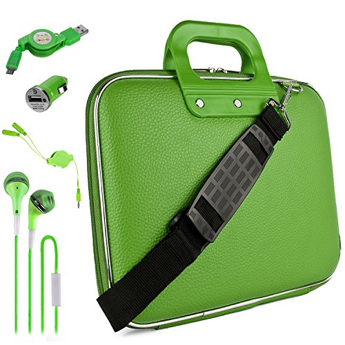 Green Lottie Travel Bag w/ Micro USB Cable & Charger, 2-in-1 3.5mm Headpone Jack Adaper & More For 9.7