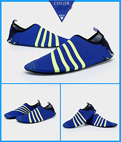 Humasol Men Women's Lightweight Quick-Dry Aqua Shoes Multifunctional Water Socks for Swim Beach Pool B073WTDSVN US Women:8.5-10/ Men:7-8.5 (EU 39-40)|Stripe-Dark blue