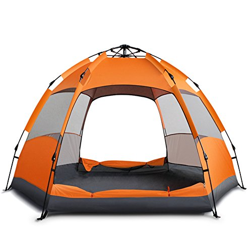 Aurora 3 Person Tent - HnjPama Double-Layer Family Camping Tents/Waterproof & Anti-Mosquito Tents/Lightweight & Compact, Portable Tents-Orange