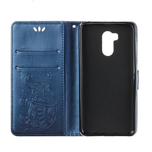 Funda Xiaomi Redmi 4 Pro, CaseLover Piel Libro Cuero Elefante Impresión Carcasa para Redmi 4 Pro con TPU Silicona Case Cover Interna Suave Flip Folio Tapa y Cartera Cierre Magnético, Función de Soport Azul Oscuro
