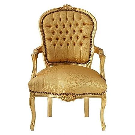 Poltrone In Plastica Stile Barocco.Decobay Eu Tessuto D Oro Giallo Salon Sedia Barocco Bracciolo