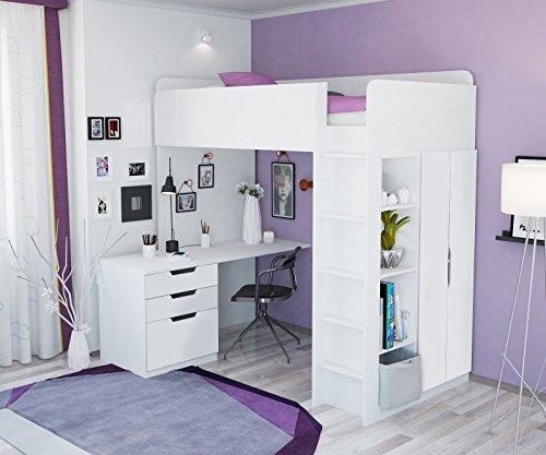 Polini Kids Ninos Litera hochbett Combinacion 5en 1en diferentes colores blanco weiß
