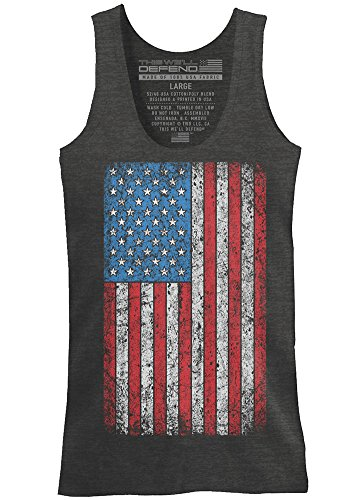 This We'll Defend - Vintage American Flag - Made Of USA - Mens 52/48 Premium Tank Top T-Shirt, Charcoal Heather - Flag Tank