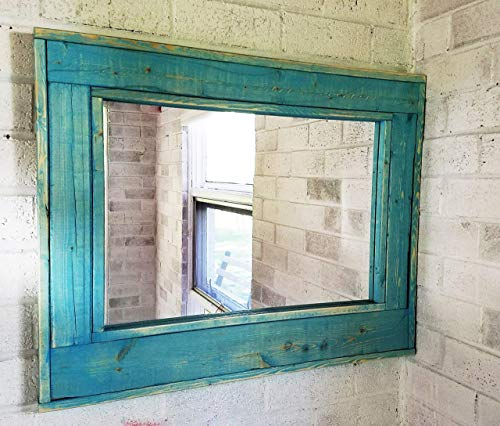 Herringbone Reclaimed Wood Framed Mirror, Available in 4 Sizes and 12 Colored Stains: Shown in Vintage Aqua Teal - Framed Mirror Wall Decor - Mirror for Living - Home Decor Mirror