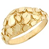 10k Solid Yellow Gold Nugget Diamond Cut Dome Ring Jewelry