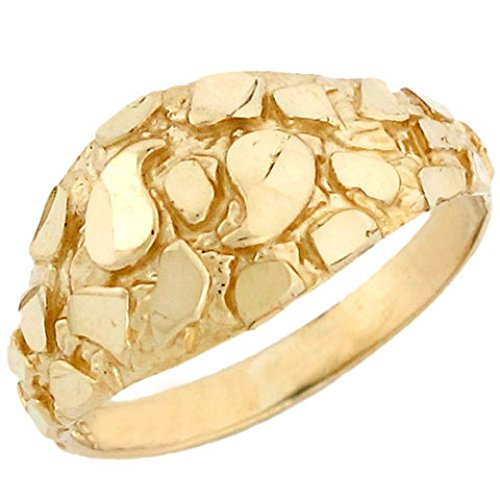 10k Solid Yellow Gold Nugget Diamond Cut Dome Ring Jewelry (Nugget Yellow Ring Gold)