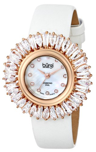 Burgi Women's BUR092WT Rose Gold Swiss Quartz Crystal Accented Swiss Quartz Watch with Mother of Pearl Dial and White Fabric Strap