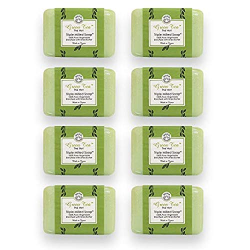 Milled French Soap Vegetable - Bisous de Provence French Soap, Green Tea The Vert Triple Milled Soap enriched with Shea Butter, 100% Pure Vegetable Based, Made in France, Paraben Free 8 x 7 oz (200g) Value Pack