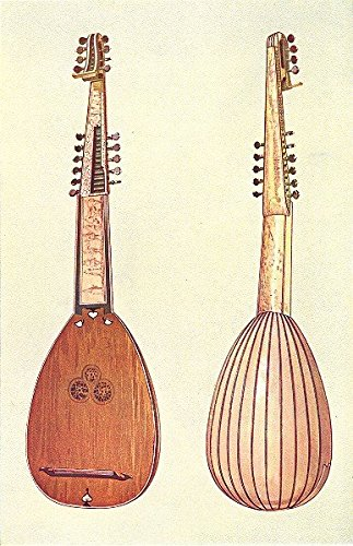 MUSICAL INSTRUMENTS. Theorbo - 1945 - old print - antique print - vintage print - Music art prints