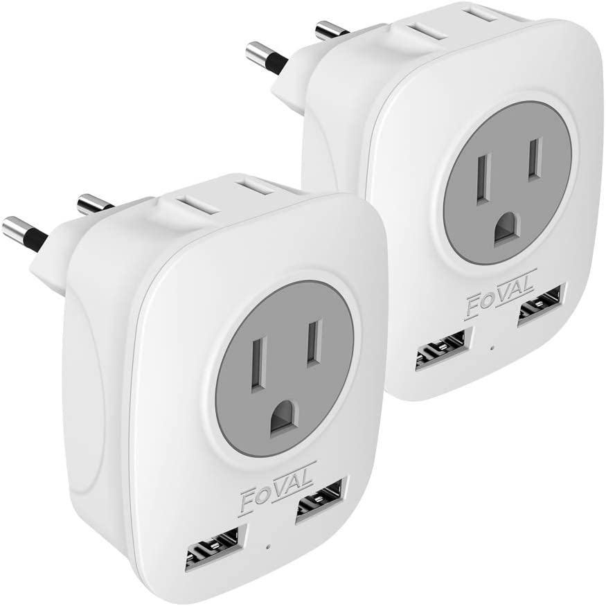 European Travel Plug Adapter, Foval European Plug Adapter US to Europe Power Outlets Adapter with 2 USB, 4 in 1 Europe Travel Adapter for France, Germany, Spain, Greece, Russia (2 Pack Type C)