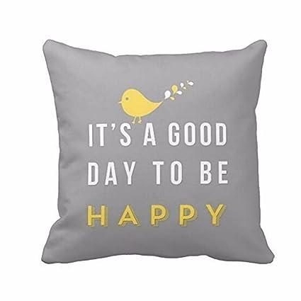 Pájaro amarillo dibujos animados Carta Imprimir funda de almohada, friendg Cafe decoración para el hogar