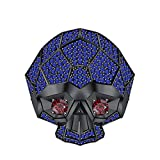 RUDRAFASHION Men's & Women's 14K Black Gold Plated 3.80 ctw Created Blue Sapphire & Garnet Half Jaw Skull Ring