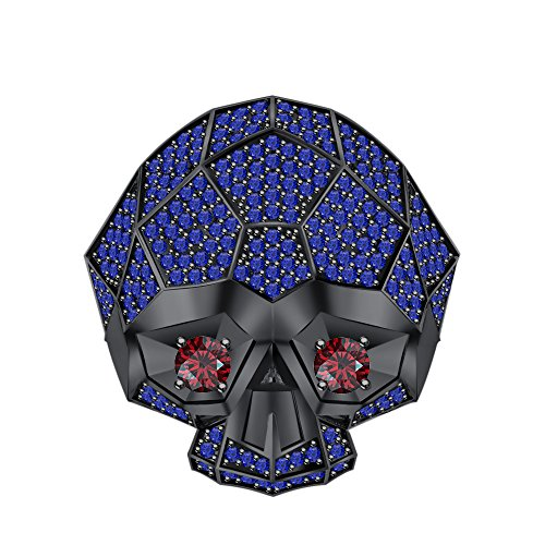 RUDRAFASHION Men's & Women's 14K Black Gold Plated 3.80 ctw Created Blue Sapphire & Garnet Half Jaw Skull Ring by RUDRAFASHION