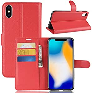 Leather Anti-Theft Flip Protective Cover with RFID Blocking Credit Card Holder and Kickstand,Soft TPU Inner Case for Iphone XS Max,RED