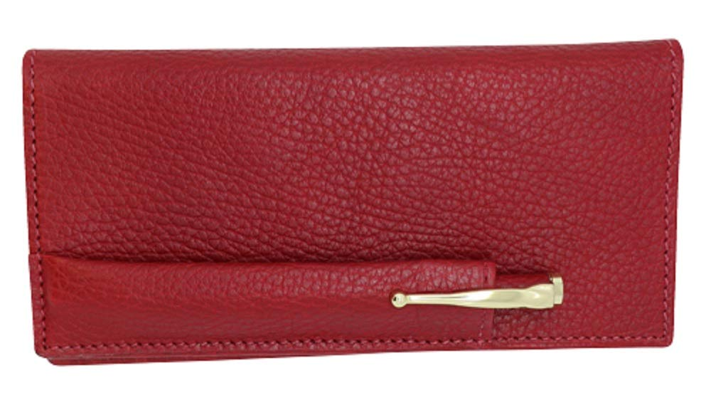Cherry Red Colorado Collection Genuine Leather Checkbook Cover with Matching Leather Hand-wrapped Gold Pen - Made in USA by Real Leather Creations FBA644