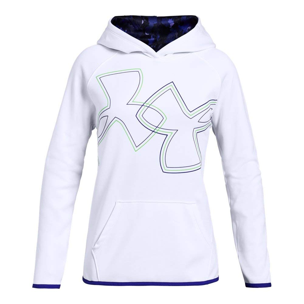 Under Armour Girls Armour Fleece Dual Logo Hoodie, White (101), Youth X-Small